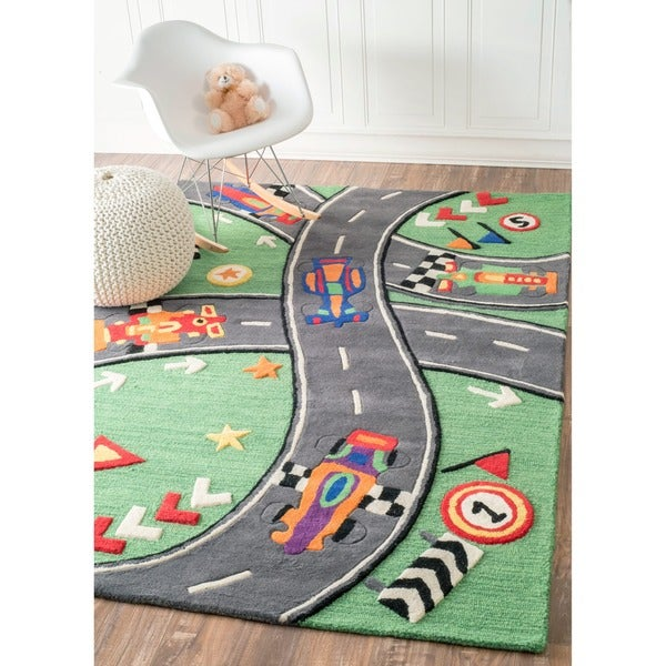 nuLOOM Handmade Kids Race Track New Zealand Wool Rug (3'6 x 5'6)