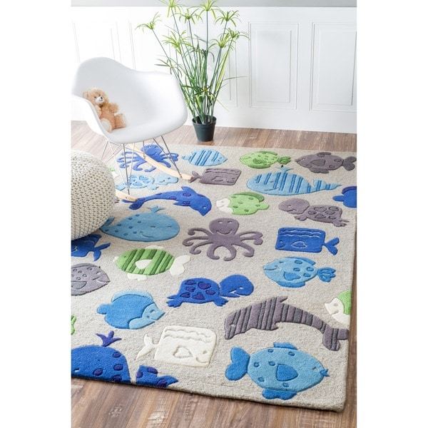 nuLOOM Handmade Kids Aquarium New Zealand Wool Rug (3'6 x 5'6)