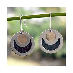 Handmade Sterling Silver 'Eclipse' Dangle Earrings (Mexico)