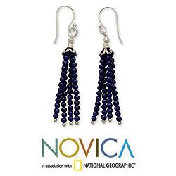 Sterling Silver 'Temple Chimes' Lapis Lazuli Earrings (India)