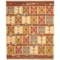 Herat Oriental Indo Hand-woven Kilim Geometric Ivory/ Green Wool Area Rug (8' x 10') - 8' x 10'