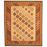 Herat Oriental Indo Hand-woven Kilim Ivory/ Rust Wool Area Rug (8' x 10') - 8' x 10'
