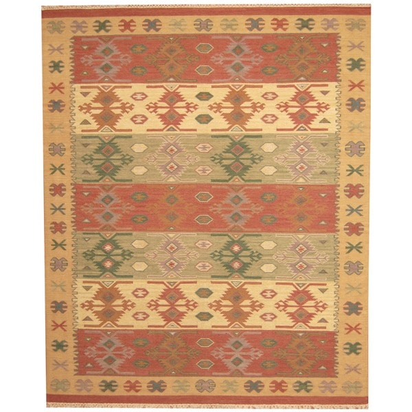 Shop Herat Oriental Indo Hand-woven Kilim Green/ Red Wool