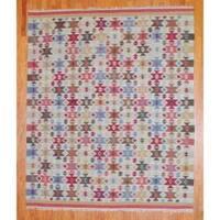 Handmade Herat Oriental Indo Kilim Ivory/ Green Wool Area Rug  - 8' x 10' (India)