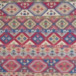 Indo Hand-knotted Kilim Blue and Red Wool Rug (8 x 10) - Thumbnail 1