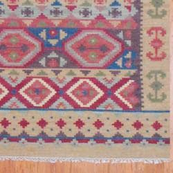 Indo Hand-knotted Kilim Blue and Red Wool Rug (8 x 10) - Thumbnail 2