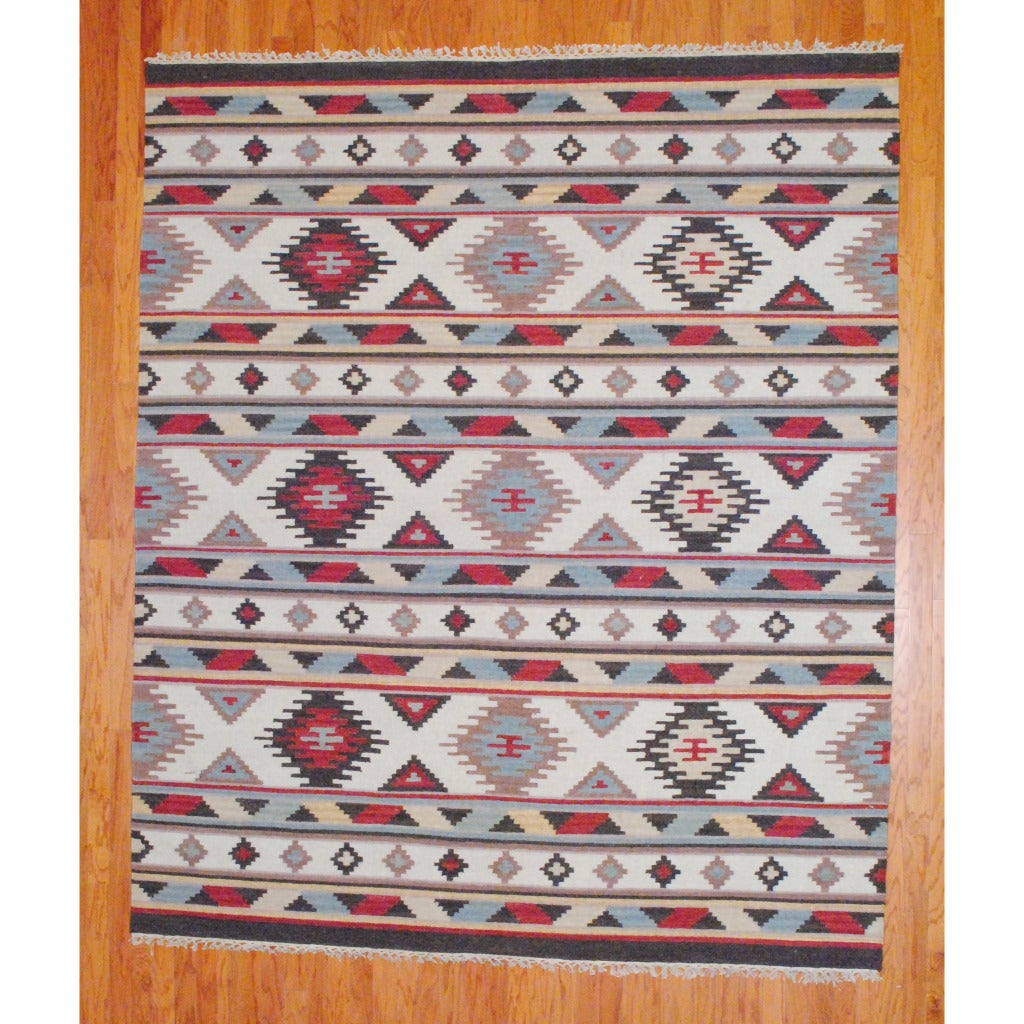 Indo Hand-knotted Kilim Ivory and Blue Wool Rug (8 x 10)