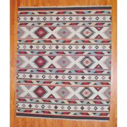 Indo Hand-knotted Kilim Ivory and Blue Wool Rug (8 x 10) - 8' x 10' - Thumbnail 0