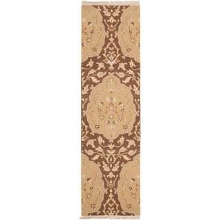 Handmade Sumak Heirloom Brown and Gold Wool Runner (2'3 x 8) (India)