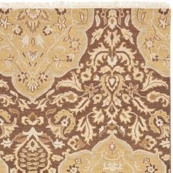 Handmade Indo Sumak Flatweave Heirloom Brown and Gold Wool Rug (4 x 6) - Thumbnail 1