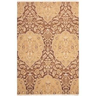 Handmade Indo Sumak Flatweave Heirloom Brown/ Gold Wool Rug (6 x 9)