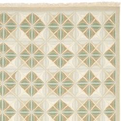 Sumak Flatweave Beige Diamond-Pattern Wool Rug (4 x 6)