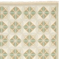 Sumak Flatweave Beige Diamond-Pattern Wool Rug (4 x 6) - Thumbnail 1
