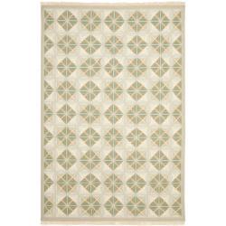 Handmade Indo Sumak Flatweave Diamonds Beige Wool Rug (6 x 9)
