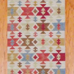 "Indo Hand-Knotted Kilim Ivory-and-Green Wool Runner Rug (2'6"" x 10"") - Thumbnail 1"