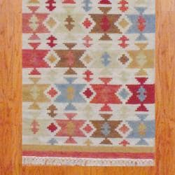 "Indo Hand-Knotted Kilim Ivory-and-Green Wool Runner Rug (2'6"" x 10"") - Thumbnail 2"