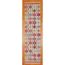 """Thumbnail 1, Indo Hand-Knotted Kilim Ivory-and-Green Wool Runner Rug (2'6"""" x 10"""")."""