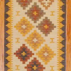Indo Hand-knotted Kilim Ivory/ Rust Wool Rug (2'6 x 10) - Thumbnail 1
