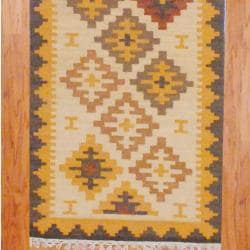 Indo Hand-knotted Kilim Ivory/ Rust Wool Rug (2'6 x 10) - Thumbnail 2