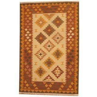 Herat Oriental Indo Hand-woven Kilim Ivory/ Rust Wool Area Rug (4' x 6')
