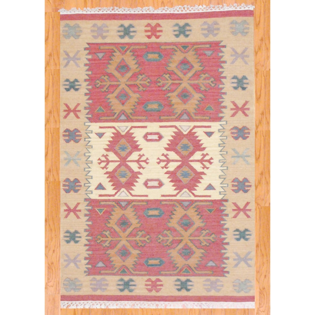 Indo Hand-knotted Kilim Green and Red Wool Rug (4 x 6) - Thumbnail 0