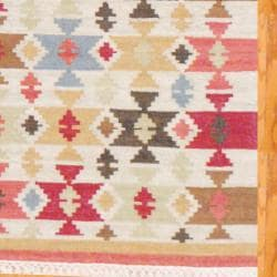 Indo Hand-knotted Kilim Ivory and Green Wool Rug (4 x 6) - Thumbnail 2