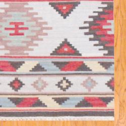 Indo Hand-knotted Kilim Ivory and Blue Wool Rug (4 x 6) - Thumbnail 2