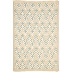 Handmade Indo Sumak Flatweave Heirloom Beige Wool Rug (4 x 6)