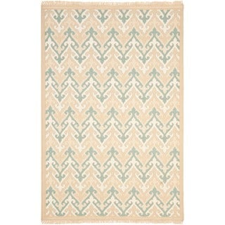Handmade Indo Sumak Flatweave Heirloom Beige Wool Rug (8 x 10)