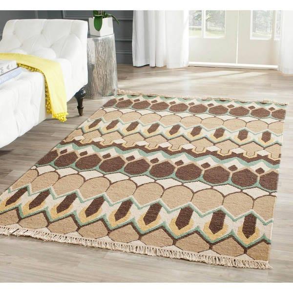 Handmade Indo Sumak Flatweave Heirloom Beige and Brown Wool Rug (6 x 9)