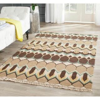 Sumak Flatweave Heirloom Beige and Brown Wool Rug (8 x 10)