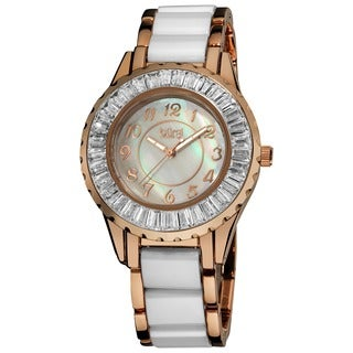 Stainless-Steel Burgi Women's Ceramic White Bracelet Baguette Quartz Watch