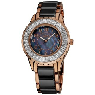 Burgi Women's Ceramic Black Bracelet Baguette Quartz Watch with FREE GIFT