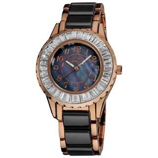 Burgi Women's Ceramic Black Bracelet Baguette Quartz Watch