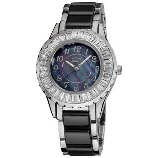 Black Burgi Women's Ceramic Bracelet Baguette Quartz Watch with FREE GIFT