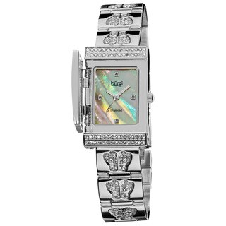Burgi Women's Diamond Butterfly Cover Quartz Silver-Tone Watch
