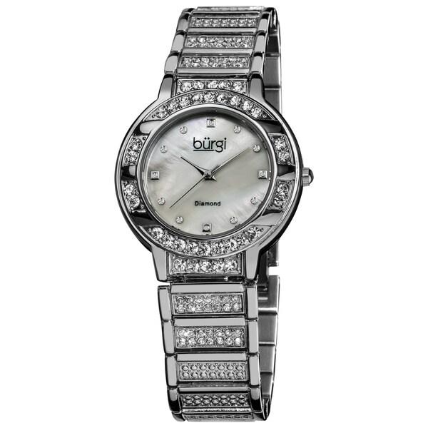 Burgi Women's Water-resistant Mother of Pearl Diamond Quartz Silver-Tone Watch