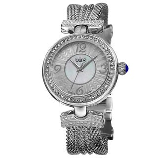 Burgi Women's Water-resistant Mother of Pearl Diamond Quartz Silver-Tone Watch