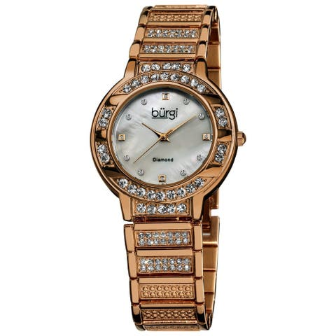Burgi Women's Mother of Pearl Diamond Quartz Rose-Tone Watch