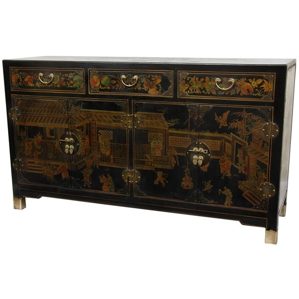 Handmade Black Lacquer Large Buffet Table (China)