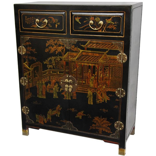 Black Lacquer Two Drawer Chest (China)