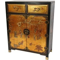 Handmade Gold Lacquer Two Drawer Chest (China)