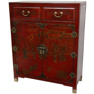 Red Lacquer Two Drawer Chest (China)