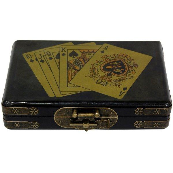 Handmade Black Lacquer Playing Card Set Box (China)