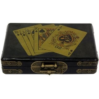Handmade Black Lacquer Playing Card Set Box (China)