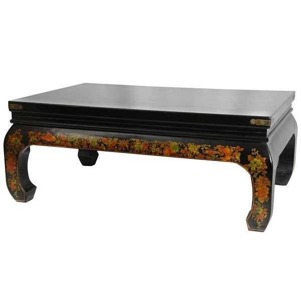 Black Lacquer 'Peaceful Village' Coffee Table (China)