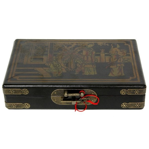 Handmade Black Lacquer Domino Set and Box (China)