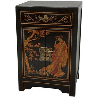 Handmade Black Lacquer Cabinet End Table (China)