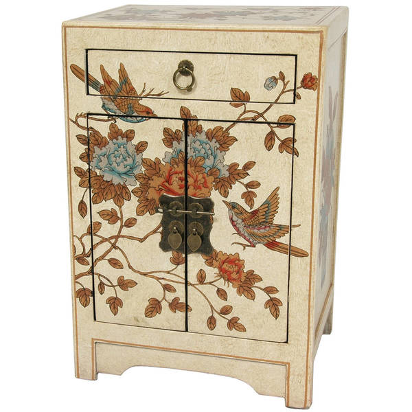 Handmade Ivory 'Peaceful Birds' End Table Cabinet (China)