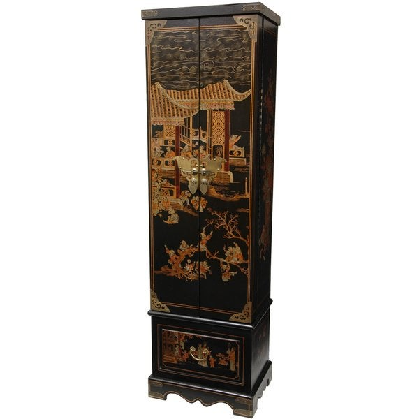 Genial Black Lacquer Floor Jewelry Armoire (China)